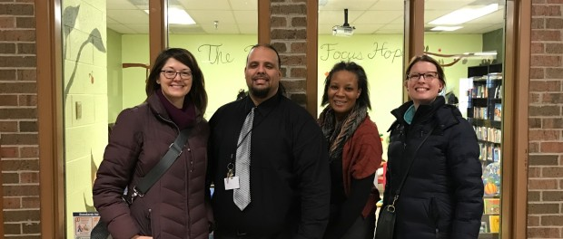 Pam and Angela join Juan and LaDawn from Focus Hope at their lending library